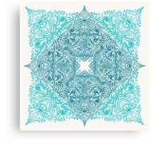 Teal Tangle Square Canvas Print