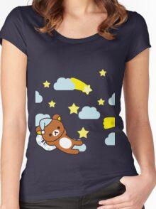 Starry Night ~ Rilakkuma  Women's Fitted Scoop T-Shirt