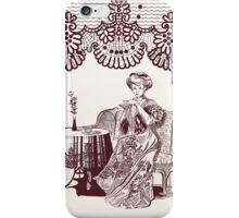 lady drinks tea iPhone Case/Skin