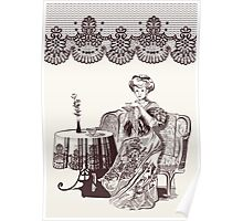 lady drinks tea Poster