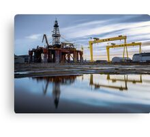 Harland and Wolf with oil rig Canvas Print