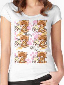 Kitty Paws ~ Rilakkuma & Korilakkuma Women's Fitted Scoop T-Shirt