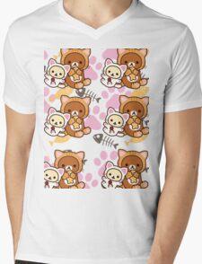 Kitty Paws ~ Rilakkuma & Korilakkuma Mens V-Neck T-Shirt
