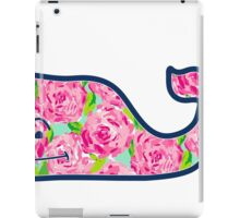 Vineyard Vines Whale w/ Lilly Pulitzer floral roses pattern Hotty Pink First Impression iPad Case/Skin