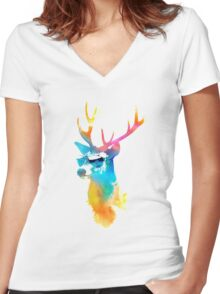Sunny Stag Women's Fitted V-Neck T-Shirt