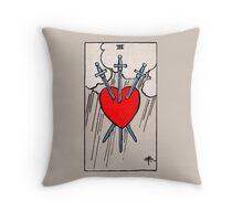 Three of Swords Tarot Card  Throw Pillow