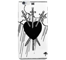 Black and White Three of Hearts Tarot Card  iPhone Case/Skin