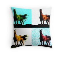 Colorized Horse Throw Pillow