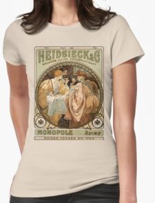 Heidsieck & Co Monopole Reims Champagne Vintage Art Womens Fitted T-Shirt