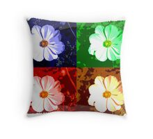 Colorized Flower Throw Pillow