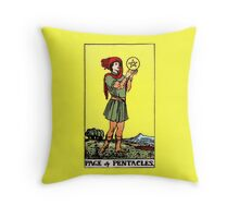 Page of Pentacles Tarot Card  Throw Pillow