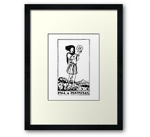 Black and White Page of Pentacles Tarot Card Framed Print