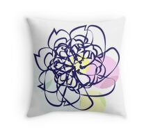 Scribble Pastel Flower Doodle Throw Pillow