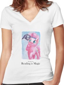 Reading is Magic: Pinkie Pie Women's Fitted V-Neck T-Shirt