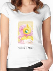 Reading is Magic: Fluttershy Women's Fitted Scoop T-Shirt