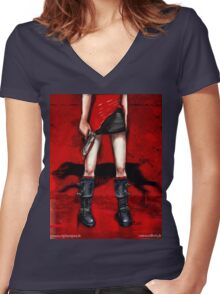 Red Dress & Zombie Dog Women's Fitted V-Neck T-Shirt
