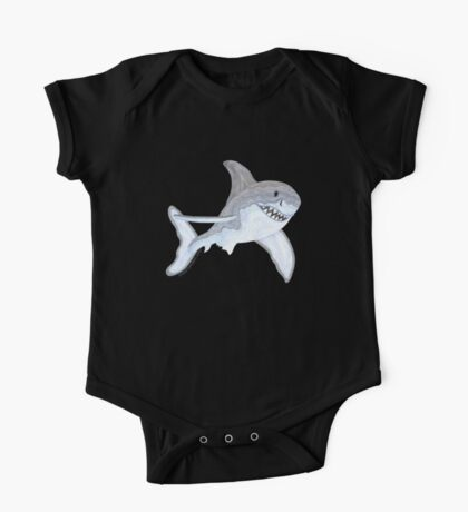 Great White Shark Fanciful Aquatic Watercolor One Piece - Short Sleeve