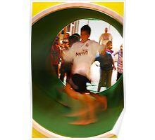 Kids playing in spinning tube Poster
