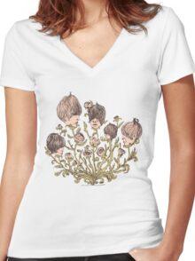FLOWERHEADS Women's Fitted V-Neck T-Shirt
