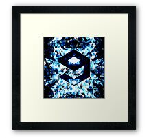 9GAG Electrifying blue sparkly triangle flames Framed Print