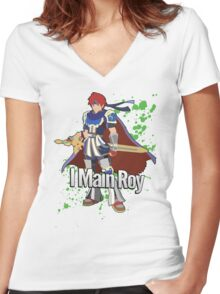 I Main Roy - Super Smash Bros. Women's Fitted V-Neck T-Shirt