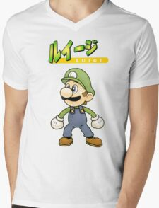 Super Smash Bros 64 Japan Luigi Mens V-Neck T-Shirt