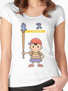 Super Smash Bros 64 Japan Ness Women's Fitted Scoop T-Shirt