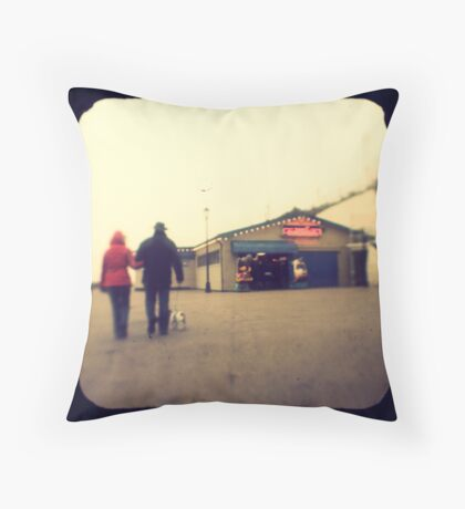 A walk along the seafront Throw Pillow
