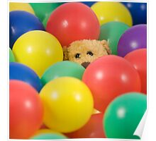 Ted overwhelmed in the ball pool - square Poster