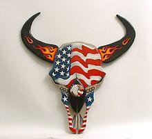 Patriotic Buffalo Skull by dussault101