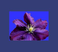 Purple Clematis Blossom - Blue Background T-Shirt