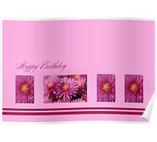 Happy Birthday - Pink flowers Poster