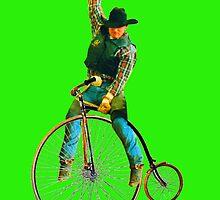 Cowboy Rides a Bike by zandozan