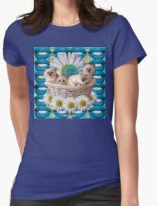 KITTEN BASKET Womens Fitted T-Shirt