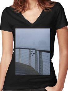 Foggy Morning Flight Plan Women's Fitted V-Neck T-Shirt