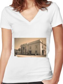 Vintage Bank Building, Niles, Ohio Women's Fitted V-Neck T-Shirt