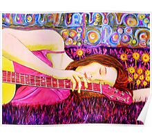 Guitar Girl in a Pink Landscape  Poster
