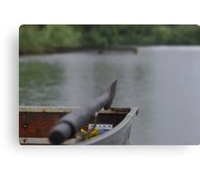 Lonely boat on a small pond Canvas Print