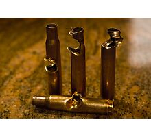.30 Caliber shells, hit by .30 Caliber Bullets Photographic Print