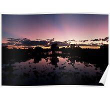 Billabong Sunset at Bourke, NSW, Australia Poster