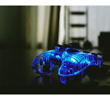 Blue Neon Controller  Photographic Print
