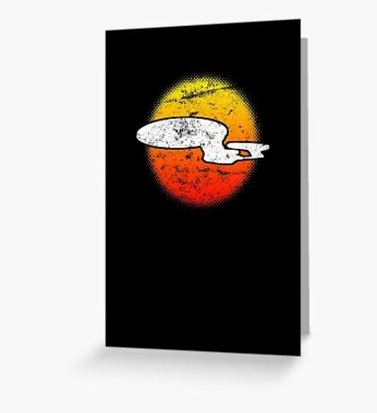 Galaxy D Class Starship 1701 - dark Greeting Card
