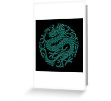 Traditional Teal Blue Chinese Dragon Circle Greeting Card