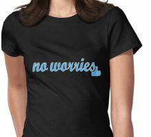 No Worries (blue writing) Womens Fitted T-Shirt