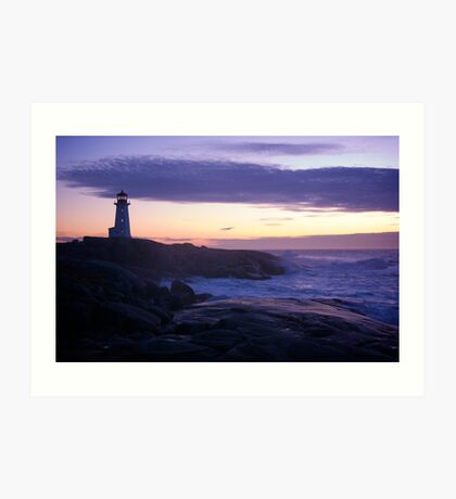 Peggy's Point lighthouse Sunset Nova Scotia Art Print