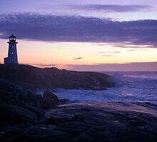 Peggy's Point lighthouse Sunset Nova Scotia by Roxane Bay