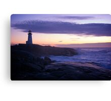 Peggy's Point lighthouse Sunset Nova Scotia Canvas Print