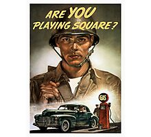 Are You Playing Square -- World War Two Print Photographic Print