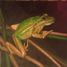Green and gold bell frog by Leanne Inwood