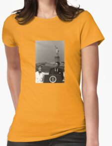 Reagan Speaking Before The Statue Of Liberty Womens Fitted T-Shirt